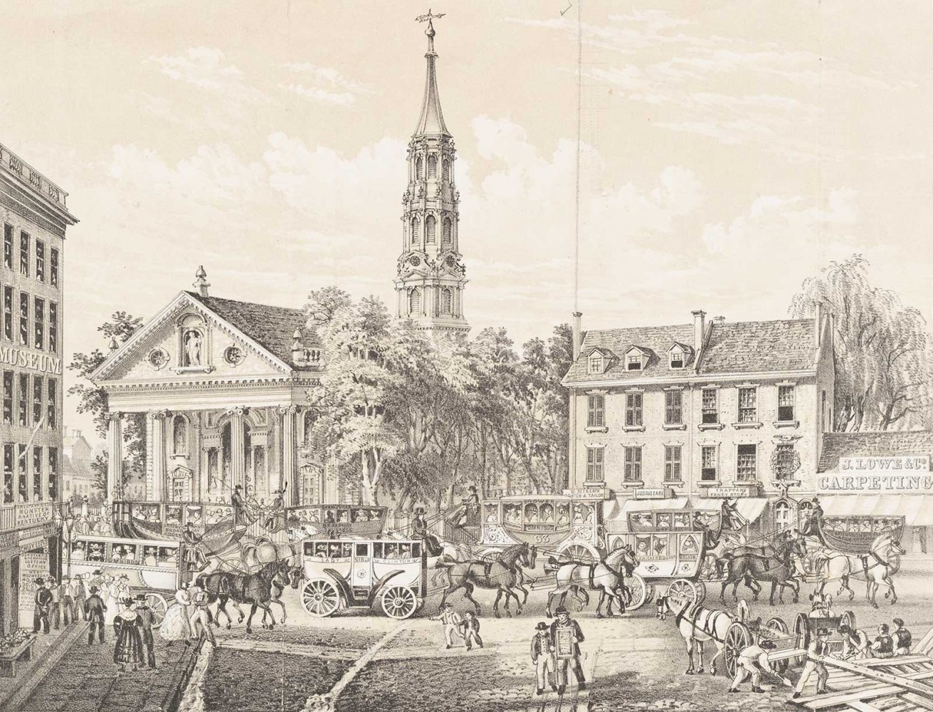 Image of Broadway and Ann, c. 1830